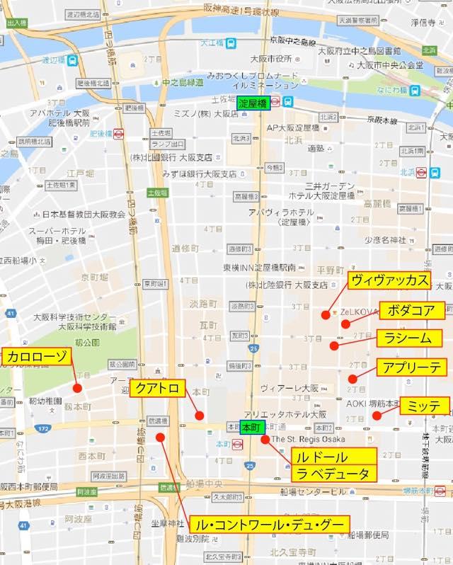 本町周辺のレストランの地図